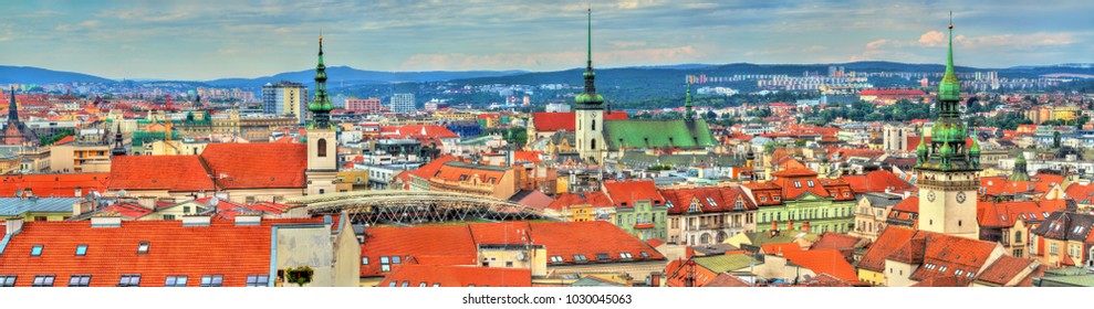 Aerial panorama of Brno - Moravia, Czech Republic