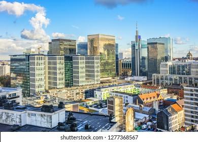 Aerial panorama of Brussels city. Brussels (Bruxelles), Belgium.