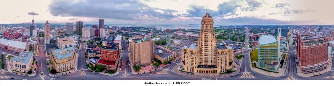 Aerial panorama of Buffalo New York downtown urban city view