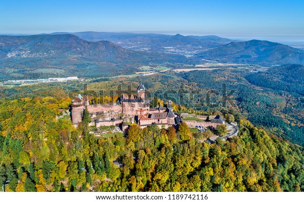 Aerial panorama of the Chateau du Haut-Koenigsbourg in the Vosges mountains. A major tourist attraction in Alsace, France