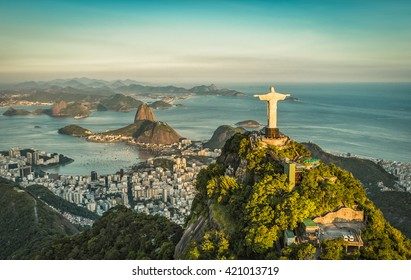 Aerial panorama of Christ and Sugar Loaf Mountain, Rio De Janeiro, Brazil. Vintage colors