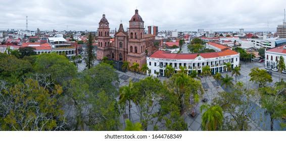 Aerial panorama of the city of Santa Cruz de La Sierra in Bolivia