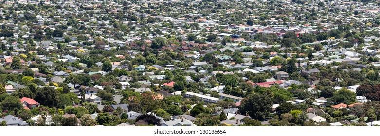 Aerial panorama of city suburbs