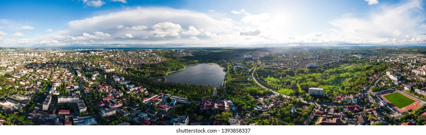 Aerial Panorama of the city with Valea Morilor park at daylight. Chisinau, Moldova