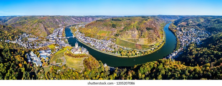 Aerial panorama of Cochem with the Reichsburg Castle and the Moselle river. Rhineland-Palatinate, Germany