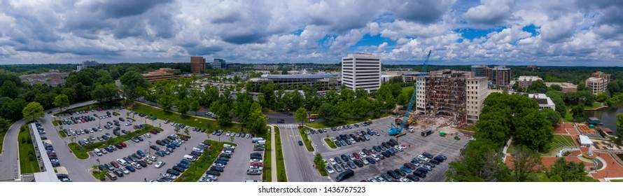 Aerial panorama of Columbia Town Center in Maryland new Washington DC with office buildings and the Columbia Mall