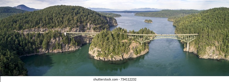 Aerial Panorama of Deception Pass Bridge in Washington State