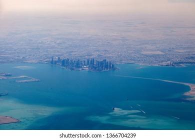 Aerial panorama of Doha. Doha, Ad-Dawhah, Qatar.