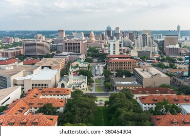 Aerial Panorama of Downtown Austin and Texas State Capitol From UT Austin Main Building (Tower)