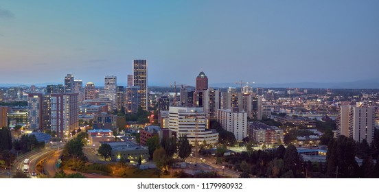 Aerial panorama of downtown Portland Oregon from the southwest at twilight on a summer evening - warmer