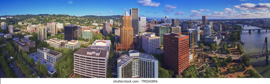 Aerial panorama downtown Portland Oregon