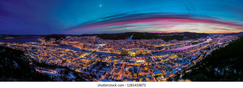 Aerial panorama of Drammen city, Norway. This image was taken in January 2019.