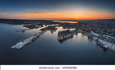 Aerial panorama drone view of sea port and industrial harbor zone in Varna, Bulgaria 2018