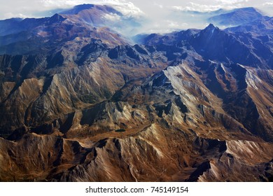 Aerial Panorama of European Alps in Autumn spanning France, Italy and Switzerland.