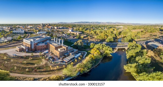 aerial panorama of Fort Collins downtown with the Cache la Poudre River, fall scenery