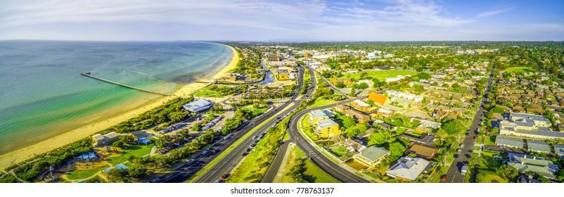 Aerial panorama of Frankston, Victoria, Australia