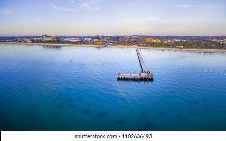 Aerial panorama of Frankston waterfront at dusk. Melbourne, Australia