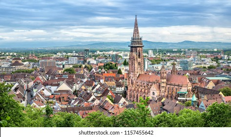 Aerial panorama of Freiburg im Breisgau with Cathedral on foreground, Germany
