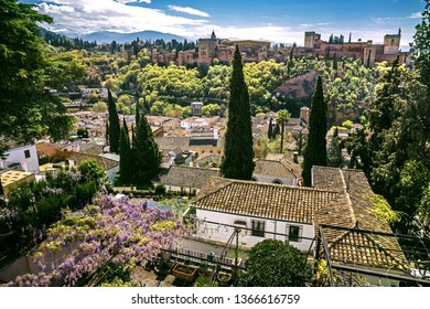 Aerial panorama of Granada with Alhambra, Andalusia, Spain