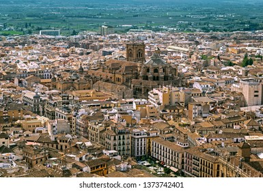 Aerial panorama of Granada with the Cathedral, Andalusia, Spain