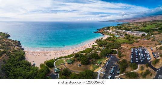 Aerial panorama of the Hapuna Beach State Park. West coast of the Big Island, Hawaii