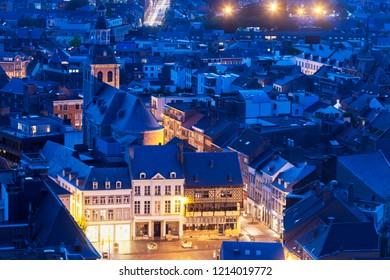 Aerial panorama of Hasselt at night. Hasselt, Flemish Region, Belgium.
