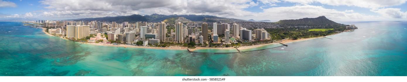 Aerial panorama Hawaii Oahu