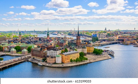 Aerial panorama from height of bird's flight on observation deck on tower City Hall to Gamla Stan (Old Town), Stockholm, Sweden