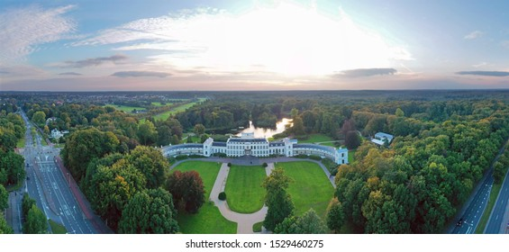 Aerial panorama from historical palace Soestdijk in the Netherlands