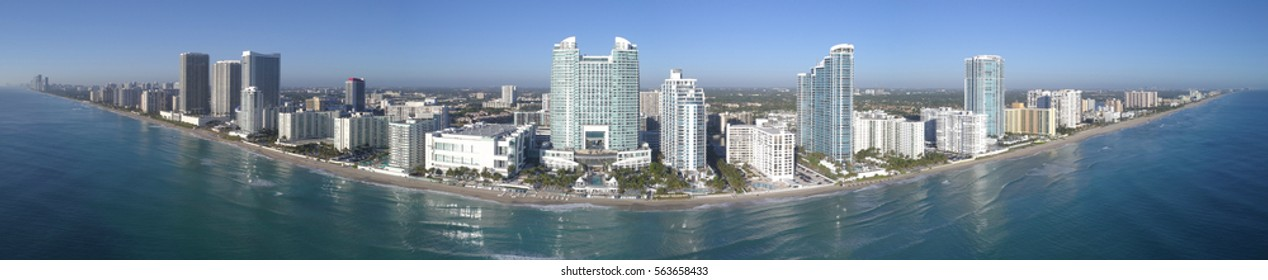 Aerial panorama of Hollywood Beach FL