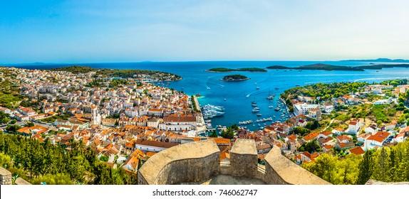 Aerial panorama of Hvar archipelago in Croatia, famous landscape view in Dalmatia region, Mediterranean.