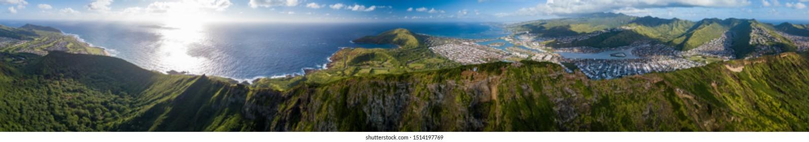 Aerial panorama of the island of Oahu as seen from the Koko Head mountain with Hanauma Bay and Honolulu city in the frame. Hawaii