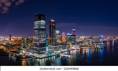 Aerial panorama of Jersey City skyline at night