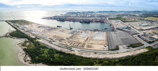 Aerial panorama of Laem Chabang Port construction site, Chonburi Province, an important logistic site of Thailand.