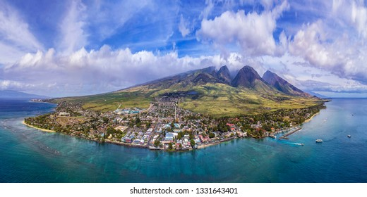 Aerial Panorama of Lahaina Town and Maui's Westside