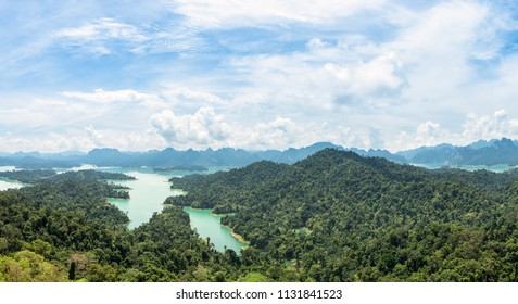Aerial panorama of lake, mountain and forest at Krai Sorn view point, Khao Sok National Park.