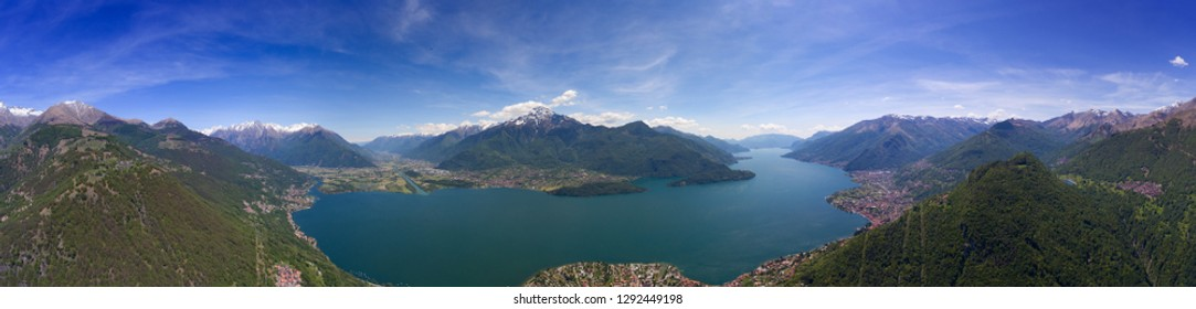 Aerial panorama landscape on Como lake between mountains in Italy