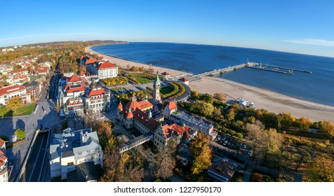 Aerial panorama landscape of Sopot city with sea view