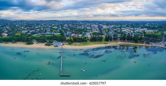 Aerial panorama landscape of Sorrento Long Pier, The Baths restaurant and beautiful coastline. Mornington Peninsula, Melbourne, Australia
