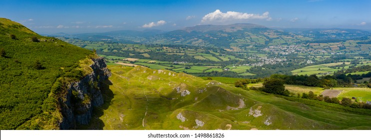 Aerial panorama of the limestone cliffs at Llangattock in the Brecon Beacons, South Wales