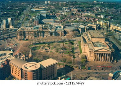Aerial panorama of Liverpool. Liverpool, North West England, UK.