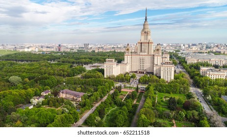 Aerial panorama of the Lomonosov Moscow State University main building. Sparrow Hills, Moscow, Russia. Aerial drone photo.