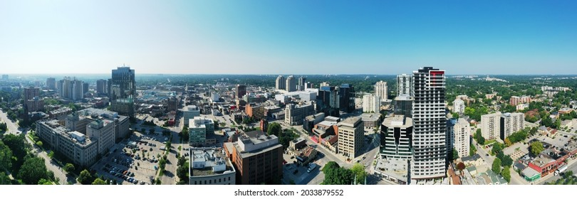 An aerial panorama of the London, Ontario, Canada downtown on a clear day