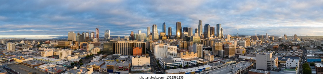 Aerial panorama Los Angeles Downtown all logos removed image