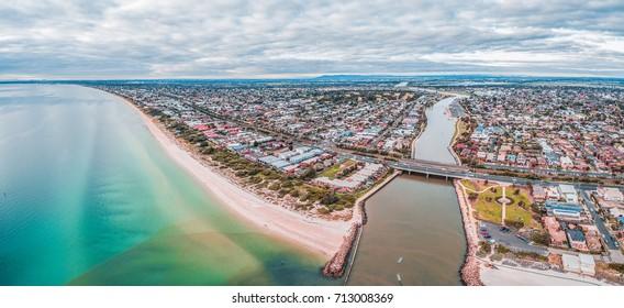 Aerial panorama of luxury suburb on Port Phillip Bay coastline in Melbourne, Australia