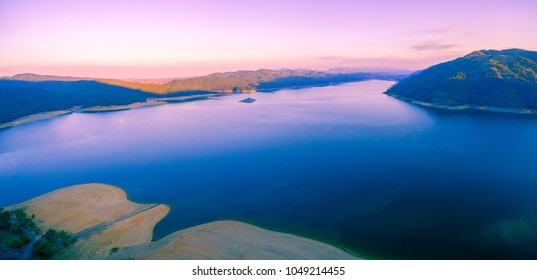 Aerial panorama of magnificent Lake Burrinjuck at sunset. New South Wales, Victoria, Australia