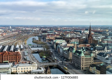 Aerial panorama of Malmo in Scania, South Sweden.