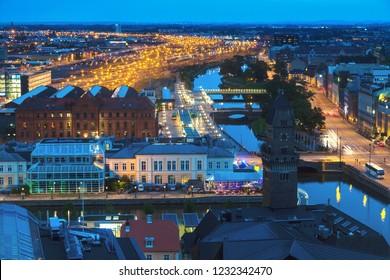 Aerial panorama of Malmo. Malmo, Scania, Sweden.