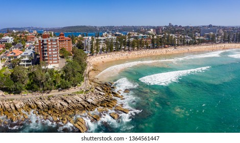 Aerial panorama of Manly beach in Sydney, NSW, Australia