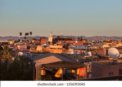 Aerial panorama of Marrakesh old town. Marrakesh, Marrakesh-Safi, Morocco.